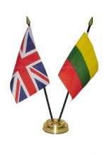 UNION JACK / LITHUANIA - Table Flag Set with GOLDEN BASE